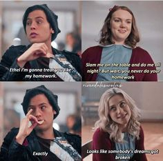 Ethel *Gets super red* The post Ethel *Gets super red* appeared first on Riverdale Memes. Riverdale Quotes, Bughead Riverdale, Riverdale Funny, Riverdale Betty And Jughead, Zack Y Cody, Funny Jokes, Hilarious, Riverdale Characters, Riverdale Cole Sprouse