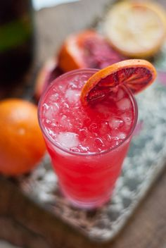 Blood Orange French 75---    Blood orange, a little lemon, a little gin, and fizzy champagne makes for a nice wintery spin on the brunch classic – the mimosa.