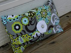 Diaper Clutch // Diaper and Wipes Pouch // Diaper Bag // Lime and Aqua on Grey with Rosette on Etsy, $18.00