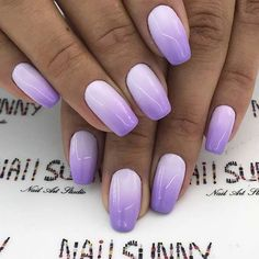 Ombre nails are everywhere these days. Ombre nails are eye-catching and personalized, and can be subtle as you want. I like a soft pastel ombre fade that is suitable for everyday use or glitter ombre nails for special occasions such as weddings. Matte Nails, Acrylic Nails, My Nails, Ongles Gel Violet, Purple Ombre Nails, How To Ombre Nails, Gel Ombre Nails, Light Purple Nails, Purple Nail Art