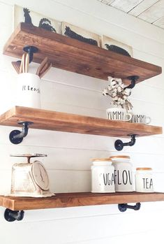 I just love these floating cedar shelves!! These would make a the perfect shelves displayed in your home giving you that industrial look or even a farmhouse look. These are awesome in the kitchen to hold plates, jars etc, in an office for books, or a bathroom for towels. The skies