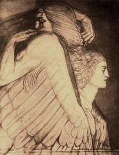 "John Duncan (1866-1945), Scottish symbolist, ""Death Carrying Off Alcestis"" sketch drawing for ""A Masque of Love"" 1921"