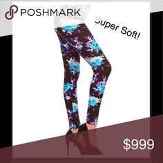 """Just in! Blue & Purple Floral Leggings 26"""" inseam. 92% polyester 8% Spandex. Machine washable. Fits size 0-8. Buttery softness you will want to LIVE in! Leggings Depot Pants Leggings"""