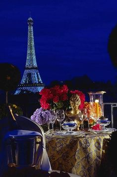 The Four Seasons George V is the perfect location for a candlelit dinner overlooking the illuminated Eiffel Tower.