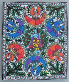 Madhubani Paintings Peacock, Kalamkari Painting, Madhubani Art, Indian Art Paintings, Shiva Art, Krishna Art, Phad Painting, Krishna Painting, Indian Folk Art