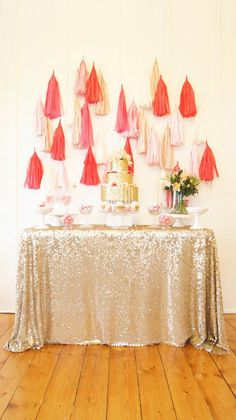 ombre pink and gold glitter bridal shower