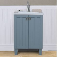 24 Inch Extra Thick Ceramic Sink Top Single Sink Bathroom Vanity In Grey  Blue Finish By Infurniture