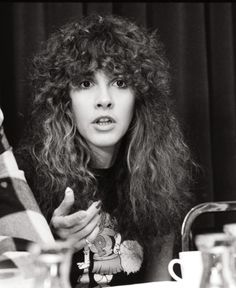 Stevie Nicks photographed during a Fleetwood Mac press conference, November 1979.
