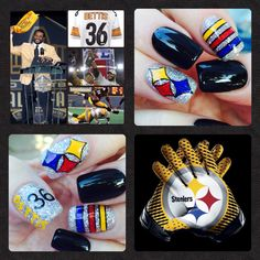 In honor of Jerome Bettis and his induction into the Pro Football Hall of Fame AND celebrating the start of football season. Hand painted Steelers nail art by Christine ( artsychris) Instagram.