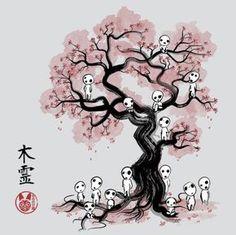 Forest Spirits Sumi-e Anime & Manga Poster Print Studio Ghibli Tattoo, Studio Ghibli Art, Studio Ghibli Movies, Anime Kunst, Anime Art, Kodama Tattoo, Anime Body, Anime Pokemon, Creation Art