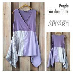 Purple Surplice Tunic Upcycled Clothing Refashioned