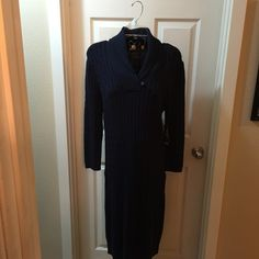 NEW navy 💙sweater 🌀dress w/ button accent👗 Classic 🌀and fun with boots 👢and add your own 💙belt another look!  SAVE $77 off list price 😊No trades American Living Dresses