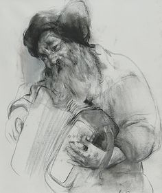 "Nikolai Blokhin, Accordionist 35""x26"" sauce on canvas, 2006. This drawing shows the blokhin's use of selection in how he develops certain aspects of his drawings. Here we can see that he fully develops the head, and the right hand so we can see the detail of those features. But then he just leaves a finished contour and light shading to other parts of the drawing such as the accordion, and the shoulder. This use of developing and undeveloping creates space, and unity in the work"