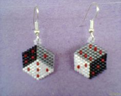 Brick Stitch DICE earrings Black Grey White by Beadedforu on Etsy, $10.00
