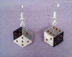 Brick Stitch DICE earrings Black Grey White by Beadedforu on Etsy, $10.00