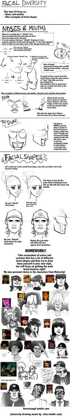 Mini-tutorial: Facial Diversity by =FOERVRAENGD on deviantART