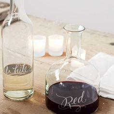 Etched wine decanters - WANT; I'm all about the etched designs when it comes to my winewear :)