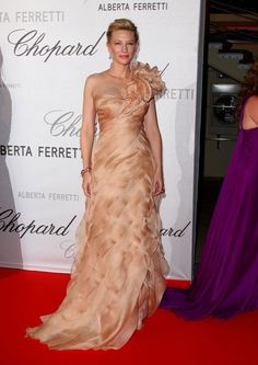 Cate Blanchett in a Peach One-Shouldered Gown at the 2008 Cannes Film Festival.