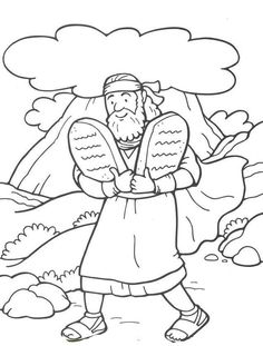 Moses Ten 10 Commandments Stone Tablets Coloring Page