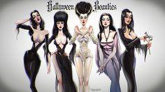 Vampira, Elvira, Bride of Frankenstein, Lily Munster & Morticia Addams Halloween Horror, Halloween Art, Happy Halloween, Halloween Photos, Halloween Stuff, Vintage Halloween, Comic Art, Dark Romance, Fantasias Halloween