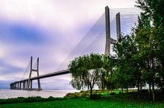 The Vasco da Gama Bridge in Lisbon, over the Tagus River, in a misty morning.Portugal