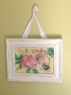 Vintage Postcard Wall Plaque, Hanging Picture, Plaque, Shabby French Country Roses & Bee, Distressed, Glitter by HollyhockVillage on Etsy