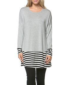 Loving this 42POPS Heather Gray Stripe Scoop Neck Tunic on #zulily! #zulilyfinds