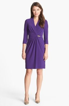 Wrap dresses are figure flattering on most women. Ellen Tracy Draped Crepe Dress available at #Nordstrom