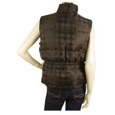 MCM Signature Brown Logo Down Feather Vest Sleeveless Jacket Body Warrmer sz 42