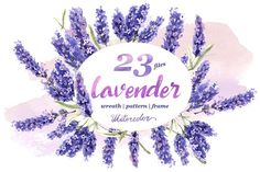 Lavender PNG flowers in watercolor by MyStocks on @creativemarket