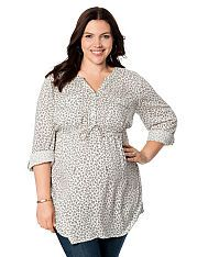 Plus Size Convertible Sleeve Tie Front Maternity Tunic