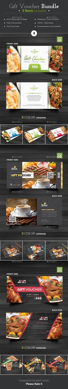 Gift Voucher by themedevisers Modern Gift Card / Gift Voucher Bundle. These Gift Voucher Cards are best suitable for promoting your business, product or service Gift Voucher Design, Gift Box Design, Food Vouchers, Gift Vouchers, Gift Card Displays, Edm Template, Templates, Coupon Design, Paper Size