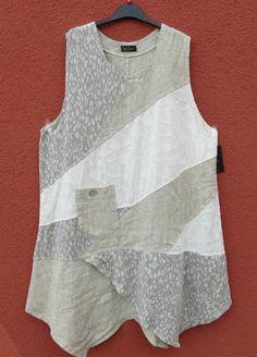 Sarah Santos Patchwork Leinen Tunika Tunic Tunique XL bis XXL 50 52 Lagenlook