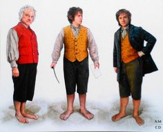 """Concept art for Bilbo as played by Ian Holm and Martin Freeman in """"The Hobbit: An Unexpected Journey"""" (2012). Holm wears his established costume from the original trilogy, while Freeman appears in a more youthful aesthetic."""