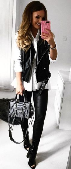 #fall #outfits women's black leather vest