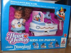 Heart Family Disneyland Kids Donald Duck Boat & Doll 1990 Mattel