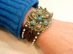 DIY Jewelry DIY Turquoise Pearl Boho Leather Bracelet