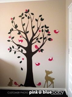 Wall Decals, Tree with Birds and Deer,  Nursery Kids Removable Wall Vinyl Decal - All Kids love this Wall sticker. $83.00, via Etsy.  Are you thinking more this direction??