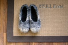 Wool Felted Stull slippers  Multi Grey  Made to by StullKnits