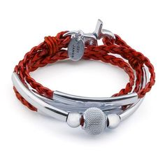 6257e600b2d3 Mini Maddie braided leather wrap silverplate in metallic moroccan red  leather
