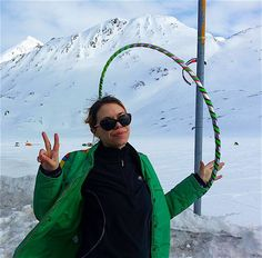 Alaska Hooping with Sammy Hoopleseed. Samantha Rodgers takes her hula hoop to Thompson Pass in Alaska. Hoop peace and love to all! Photo by William Rodgers.