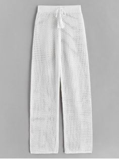 [45% OFF] 2020 Drawstring Crochet Straight Pants In WHITE | ZAFUL ..