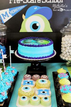 Cake at a Monster's University Back To School Party via Kara's Party Ideas | Kara'sPartyIdeas.com #Monster'sInc. #Disney #Partyideas #Supplies #monstersuniversity #party #ideas #cake