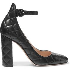 Gianvito Rossi Quilted leather pumps ($930) ❤ liked on Polyvore featuring shoes, pumps, black, black buckle shoes, black high heel pumps, ankle wrap pumps, buckle shoes and block heel shoes