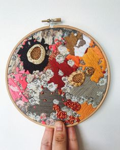 abstract embroidery hoop with glass bead embellished detail. Featuring real limpet shells from Newborough Beach. Abstract Embroidery, Embroidery Hoop Art, Beaded Embroidery, Cross Stitch Embroidery, Embroidery Patterns, Contemporary Embroidery, Modern Embroidery, Textiles, Textile Fiber Art