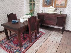 Antique Dollhouse Furniture1900S German Oak Table W Four  Dolls Beauteous Dining Room In German Decorating Inspiration