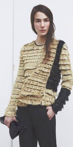 I love this tasseled sweater, Phillip Lim Knitwear Fashion, Knit Fashion, Fashion Details, Fashion Design, Designer Clothes For Men, Designer Clothing, Textile Fabrics, Fabric Manipulation, Phillip Lim