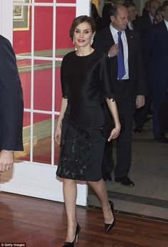 Elegant: Queen Letizia of Spain was once again immaculately put together when she attended...