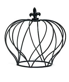 For floral centerpiece Large Wire Crown Embellishment in Matte Black