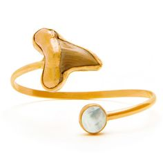 SAMA Cuff - 18kt gold dipped shark tooth with faceted mother of pearl